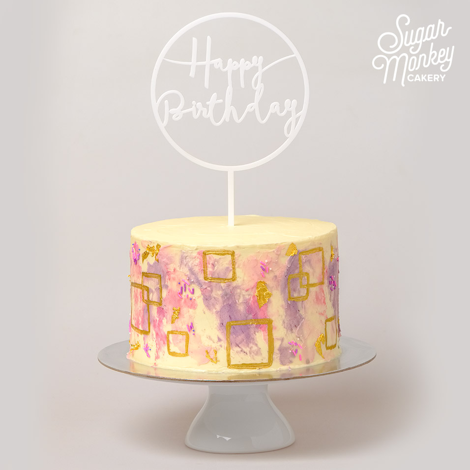 Pink and purple themed cake with hand painted gold squares