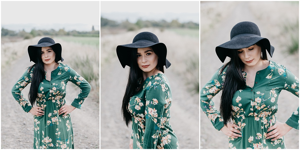 Collage of woman in green dress wearing hat