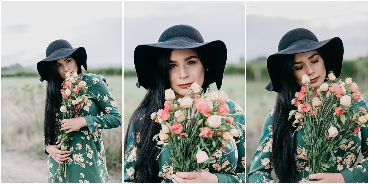 Collage of woman holding flowers