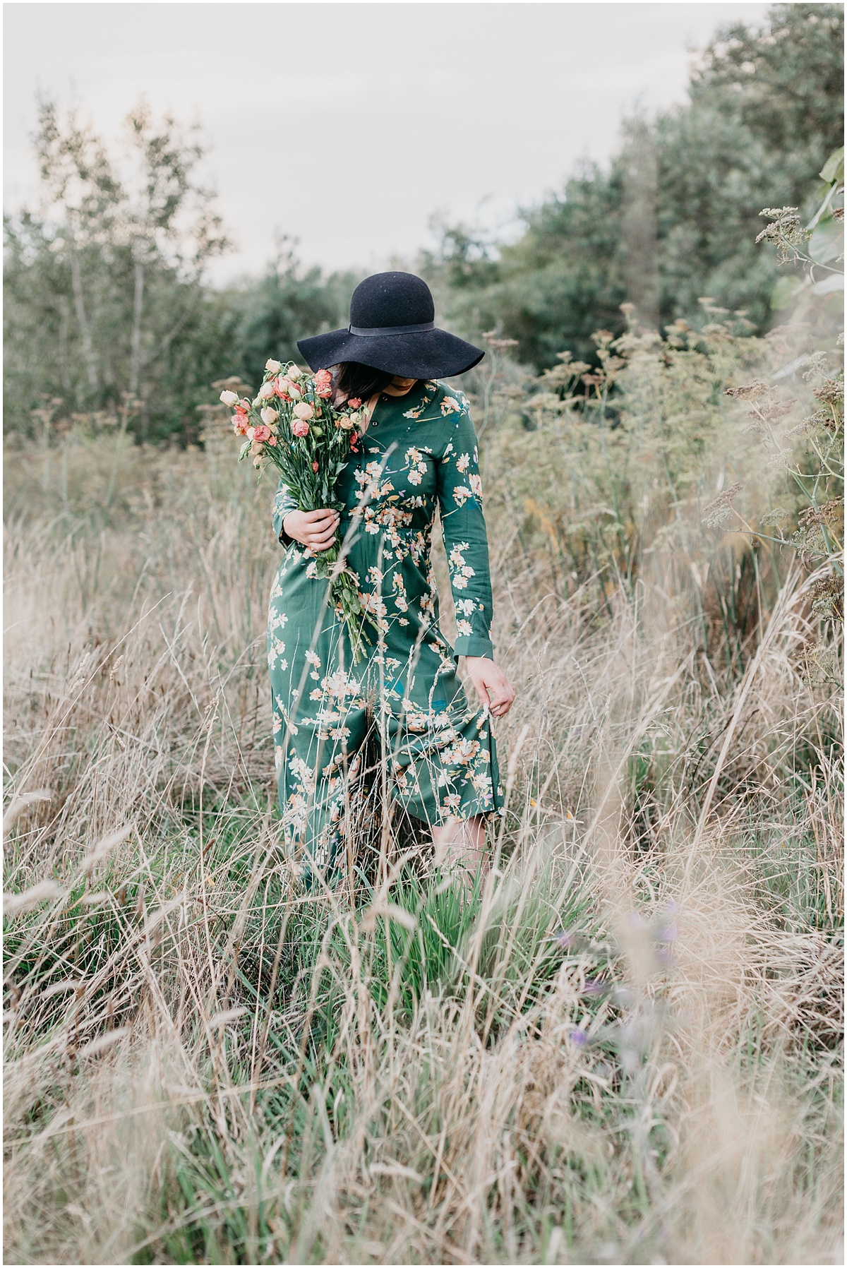 woman in field in summer dress