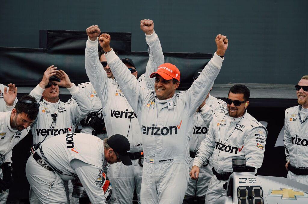 Race winner Juan Pablo Montoya celebrates his 2nd consecutive win at the St. Pete Grand Prix