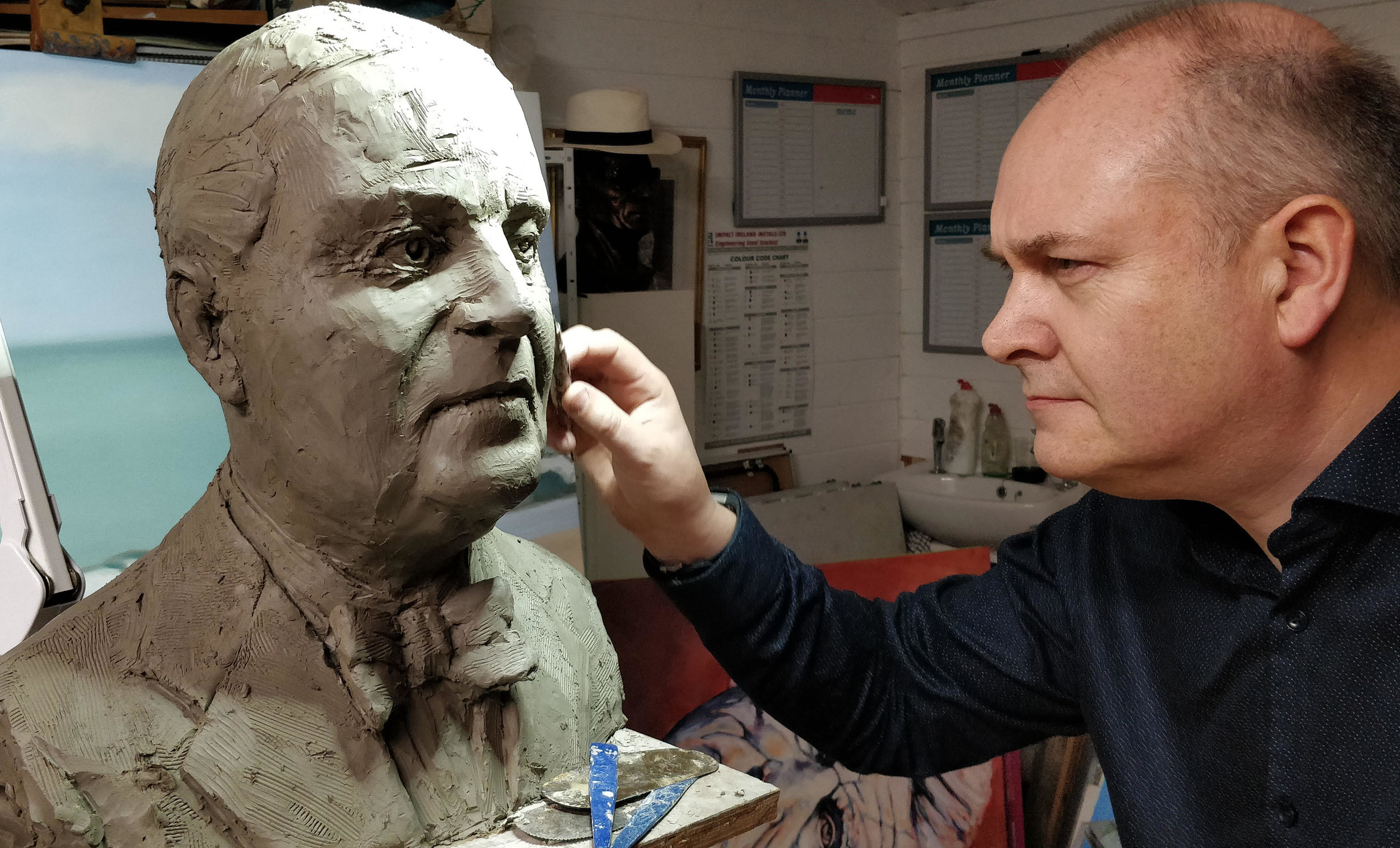A Sneak peek at Artist Paul Flynn working on his Sculpture of the late artist Paul Henry to be unveiled at the event