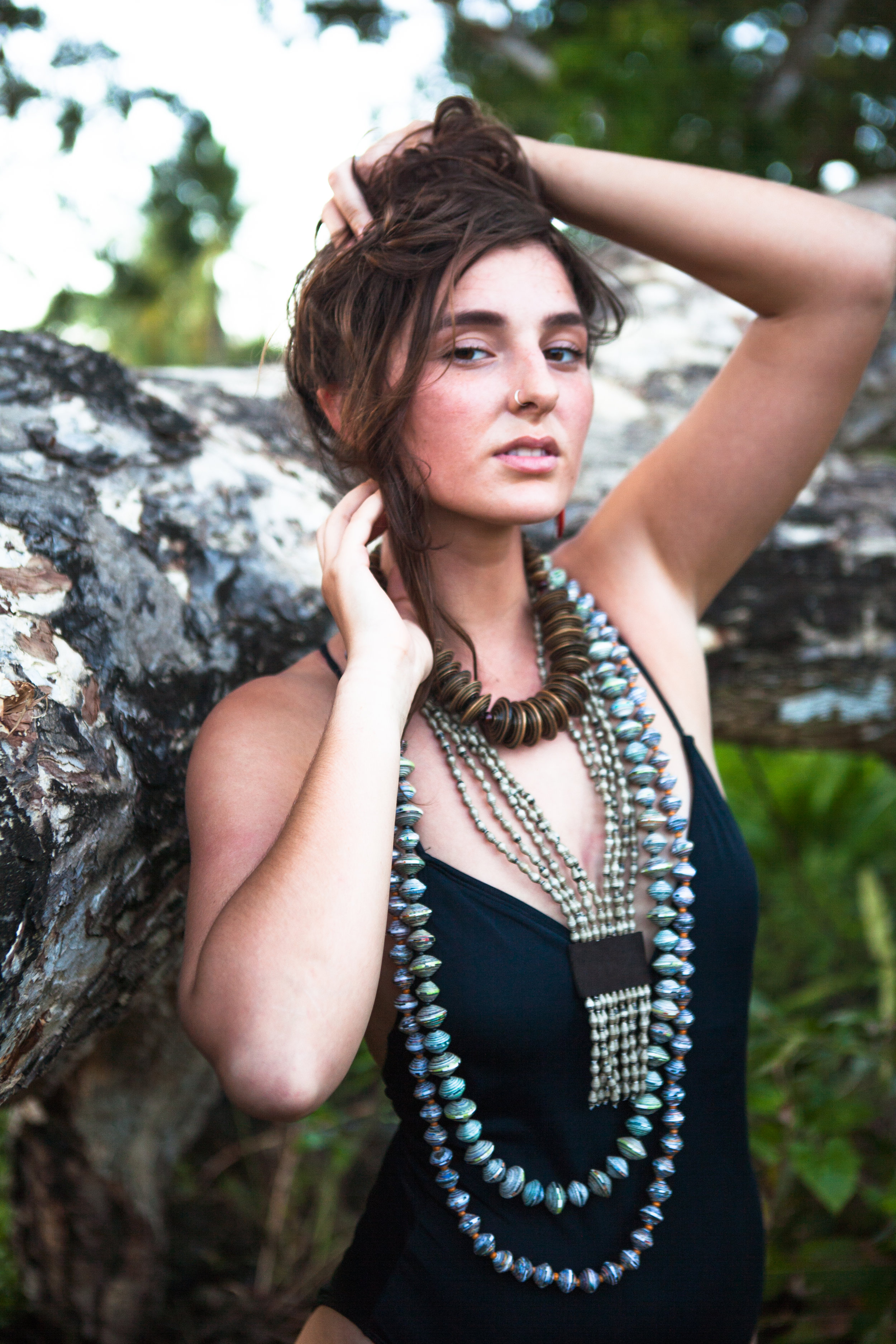 rolled paper bead sustainable natural jewelry, handmade Philippines
