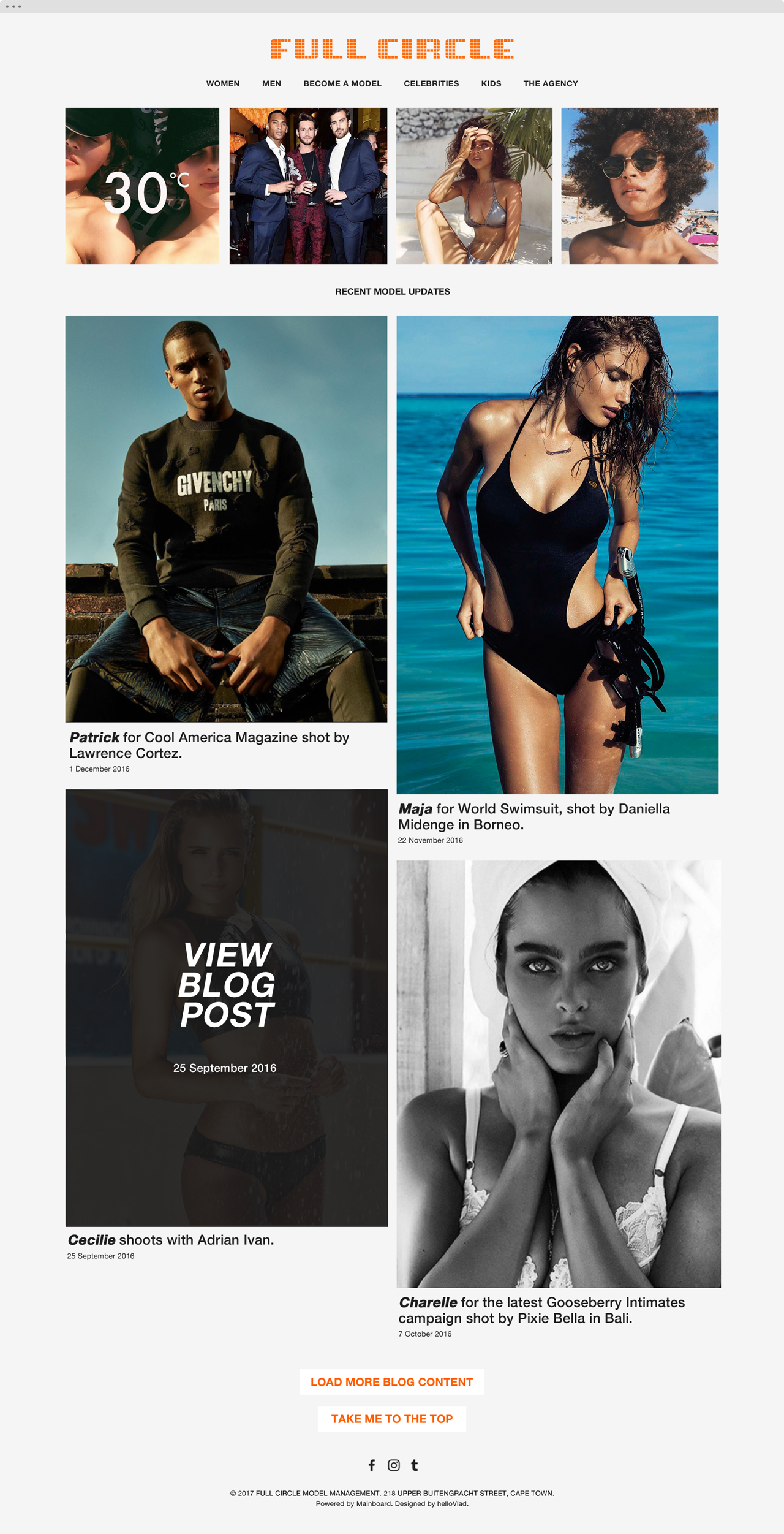 Full Circle Models website 1 - helloVlad.studio