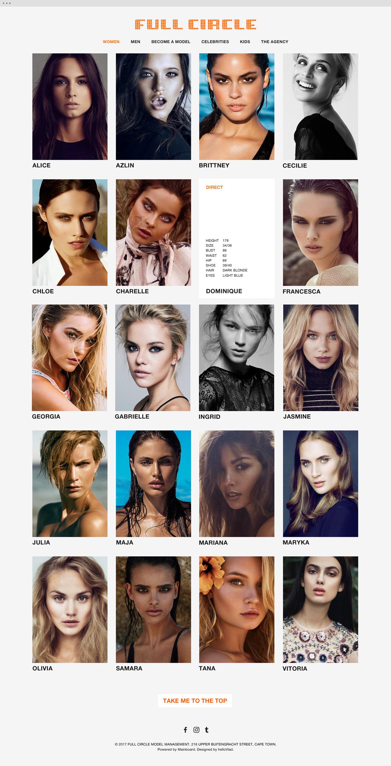 Full Circle Models website 2 - helloVlad.studio