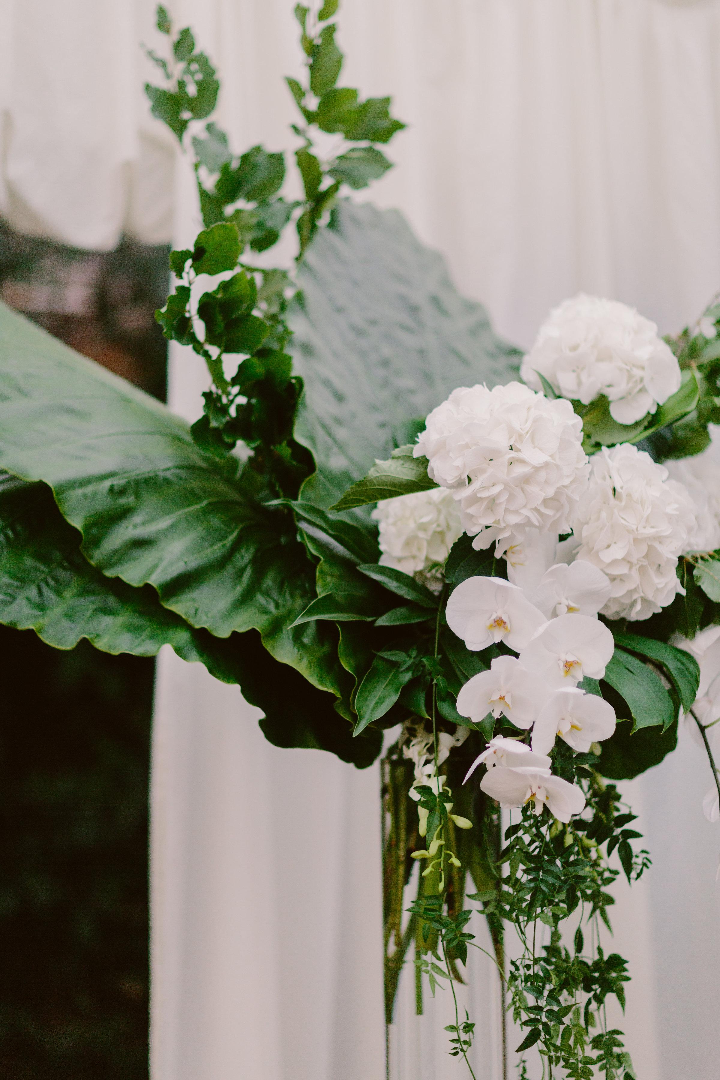 orchids hydrangea vase wedding flowers