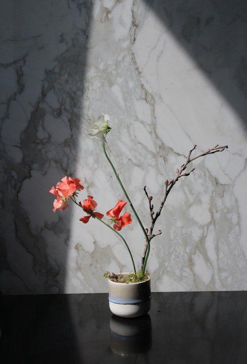 ikebana sweet pea ceramic