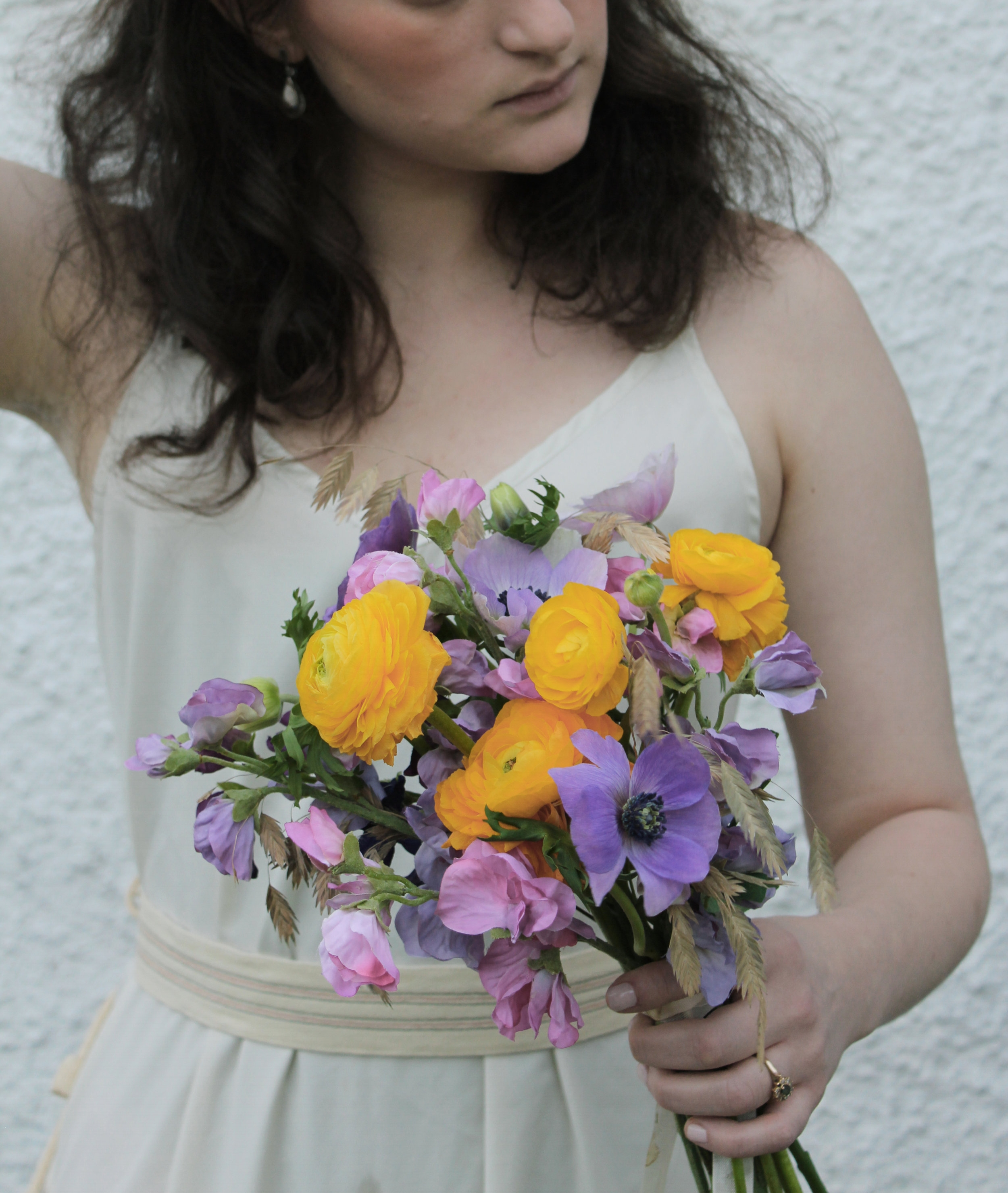 purple and yellow flowers bouquet