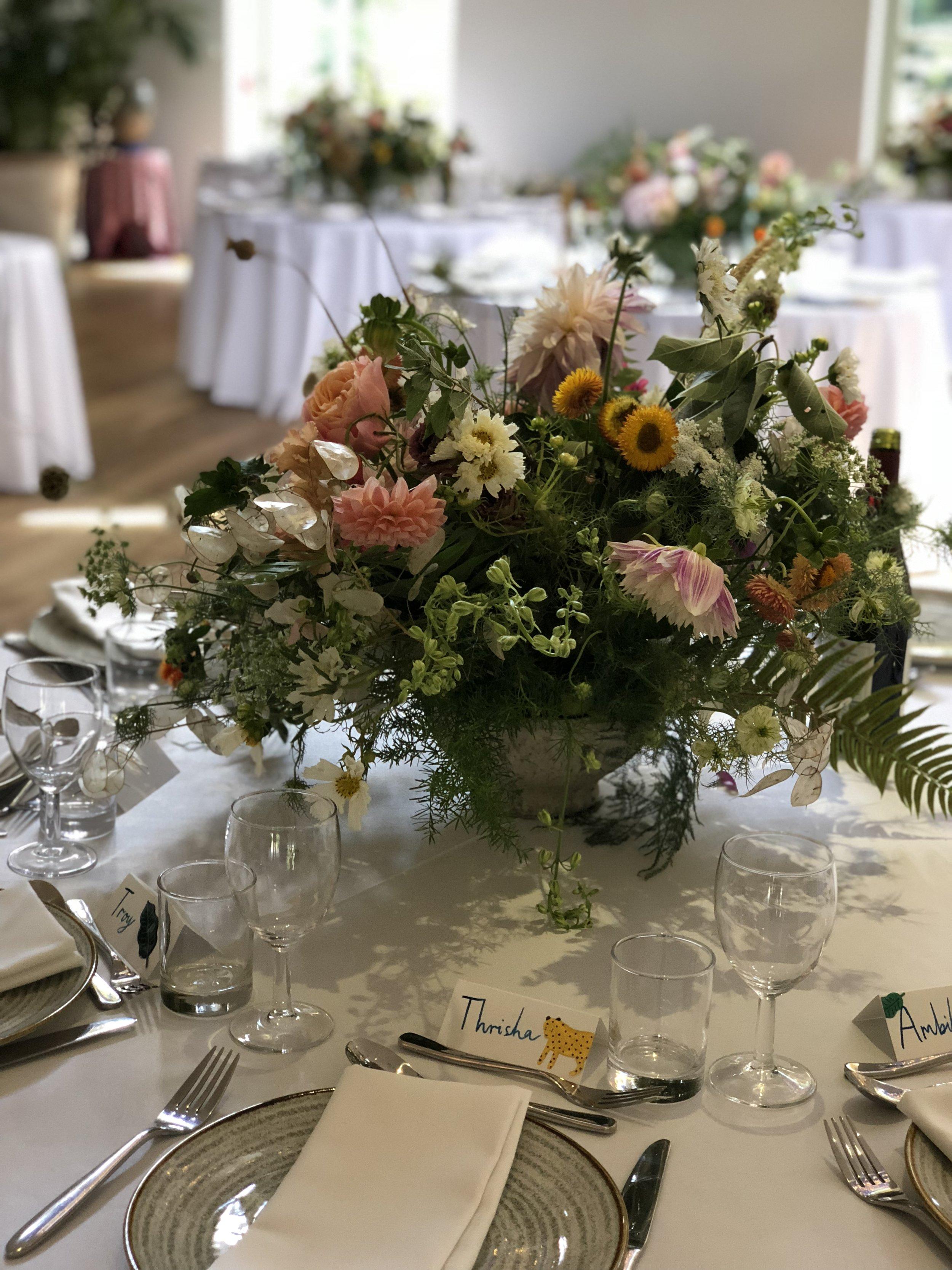 sula bailie wedding table centrepiece