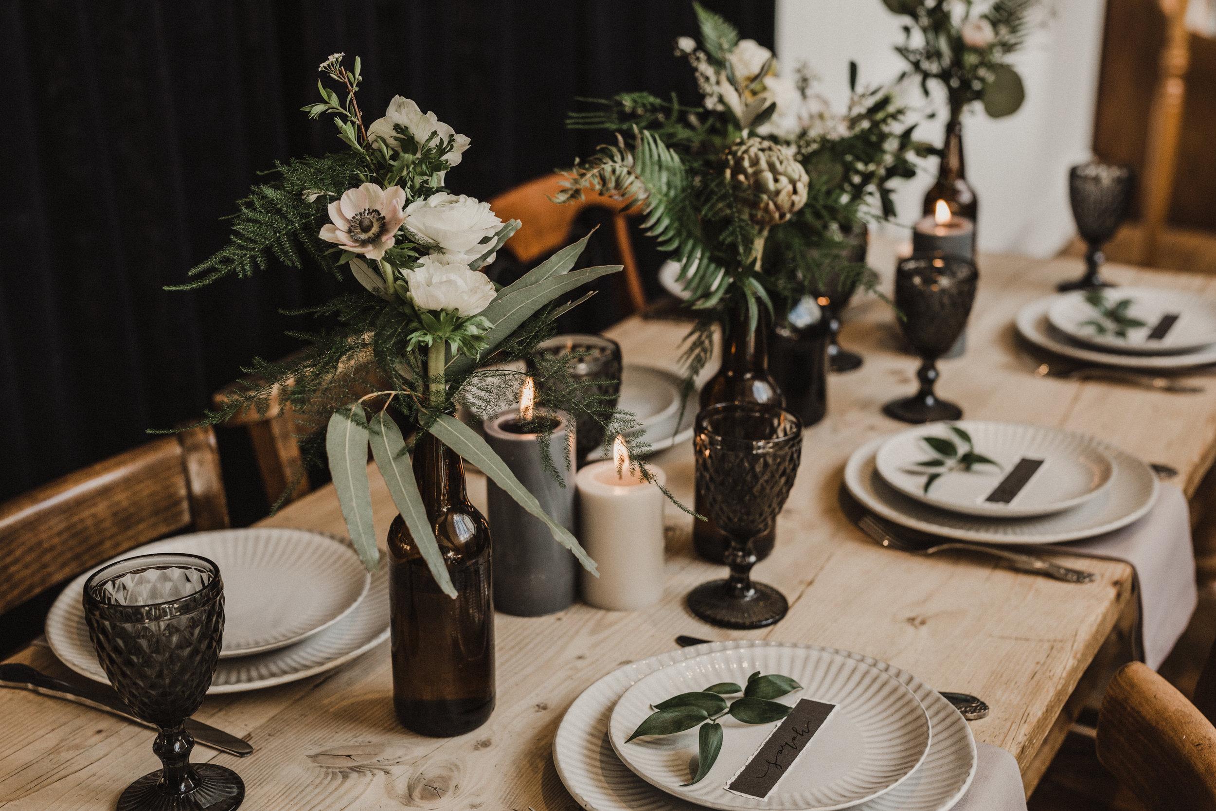 sula bailie wedding table centrepiece florist london pub shoot