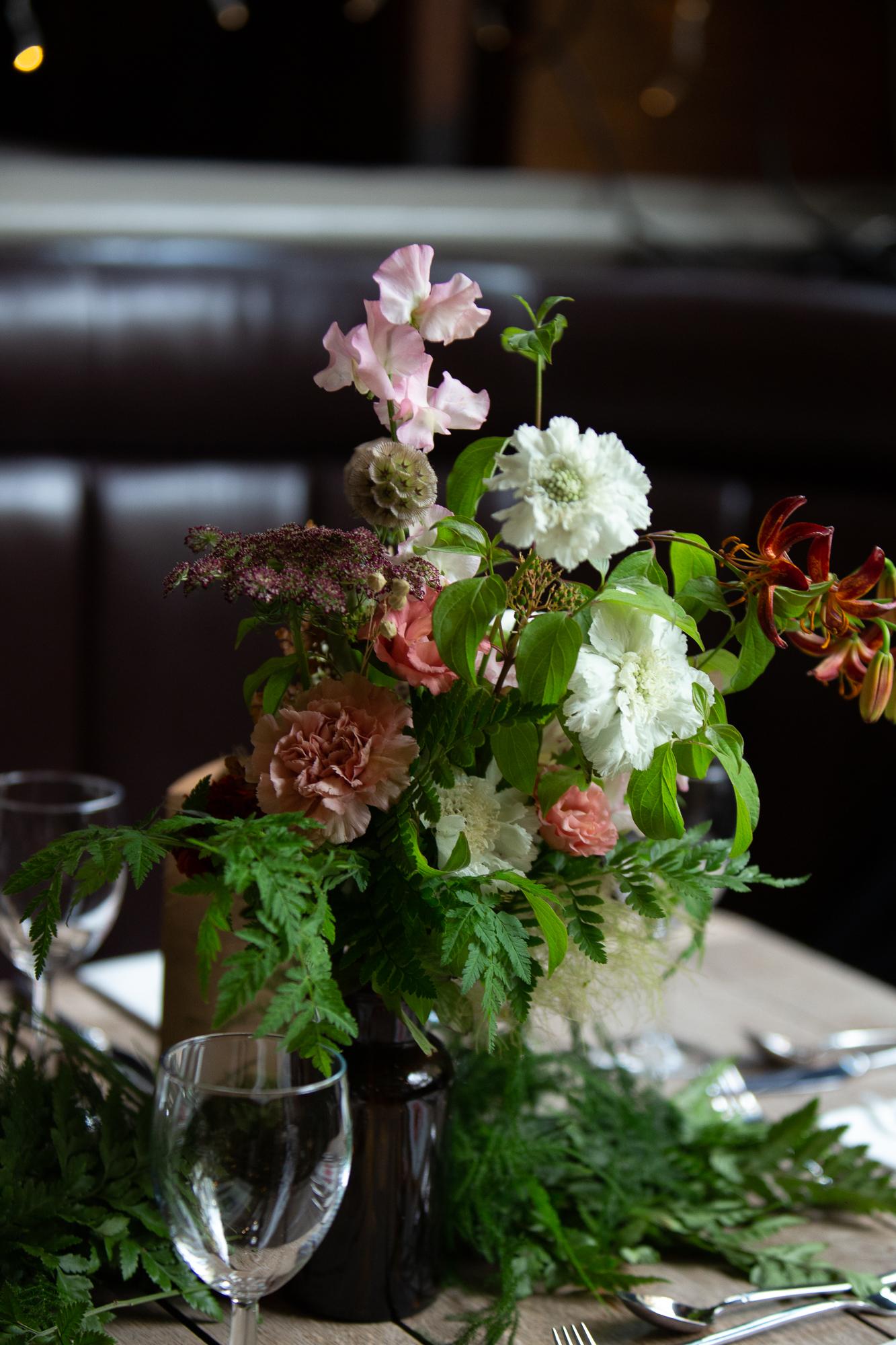 beautiful flowers at pub in Islington