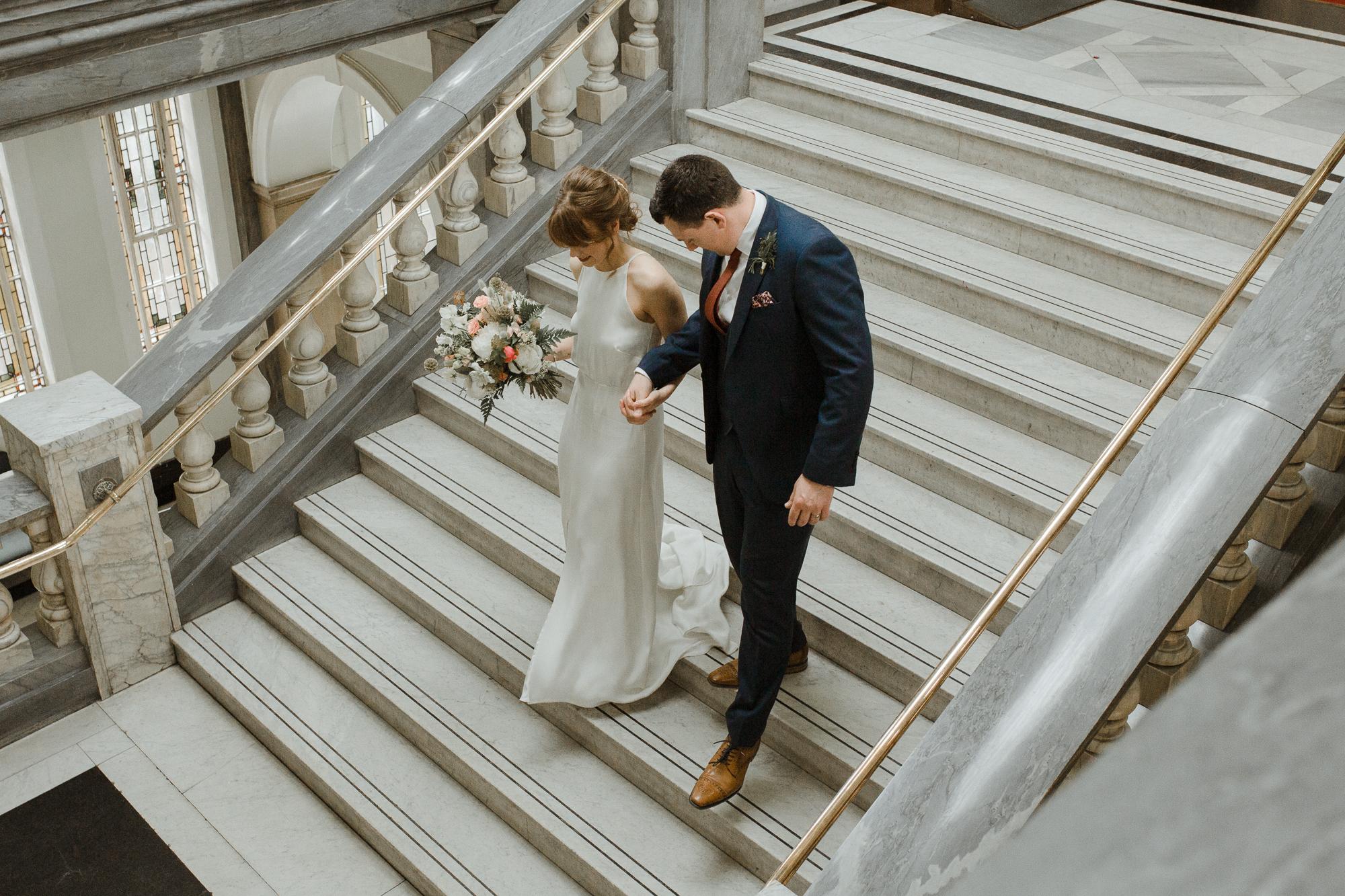 Nicebunch wedding flowers sula london-islington-town-hall-depot-n7 ethical british luxury bride and groom bouquet buttonhole ferns stephanie-green-wedding-photography