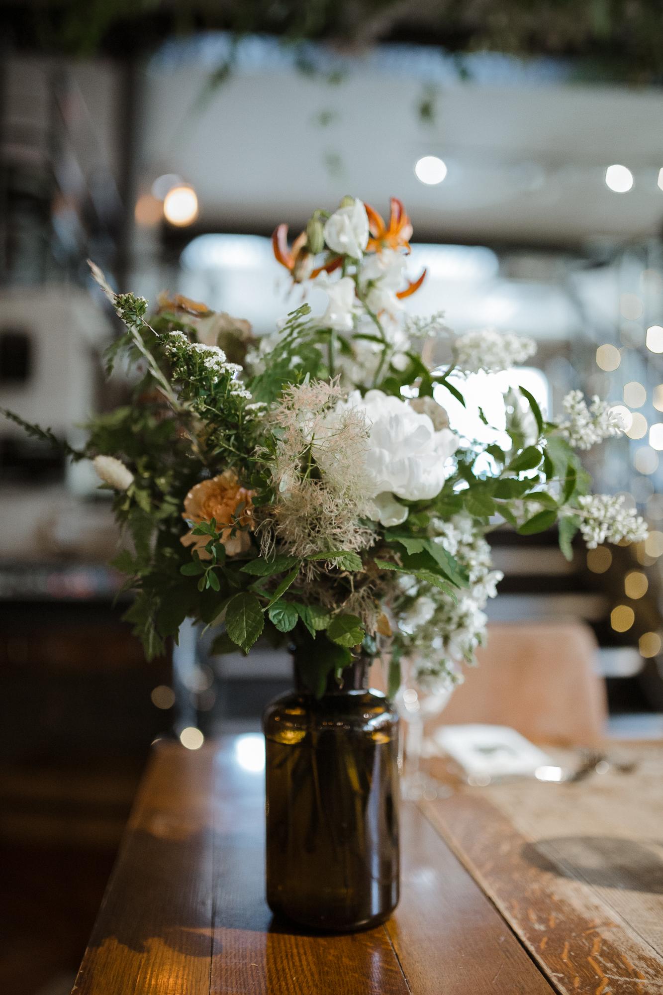 Nicebunch wedding flowers sula london-islington-town-hall-depot-n7 ethical british luxury bottles ferns peonies stephanie-green-wedding-photography