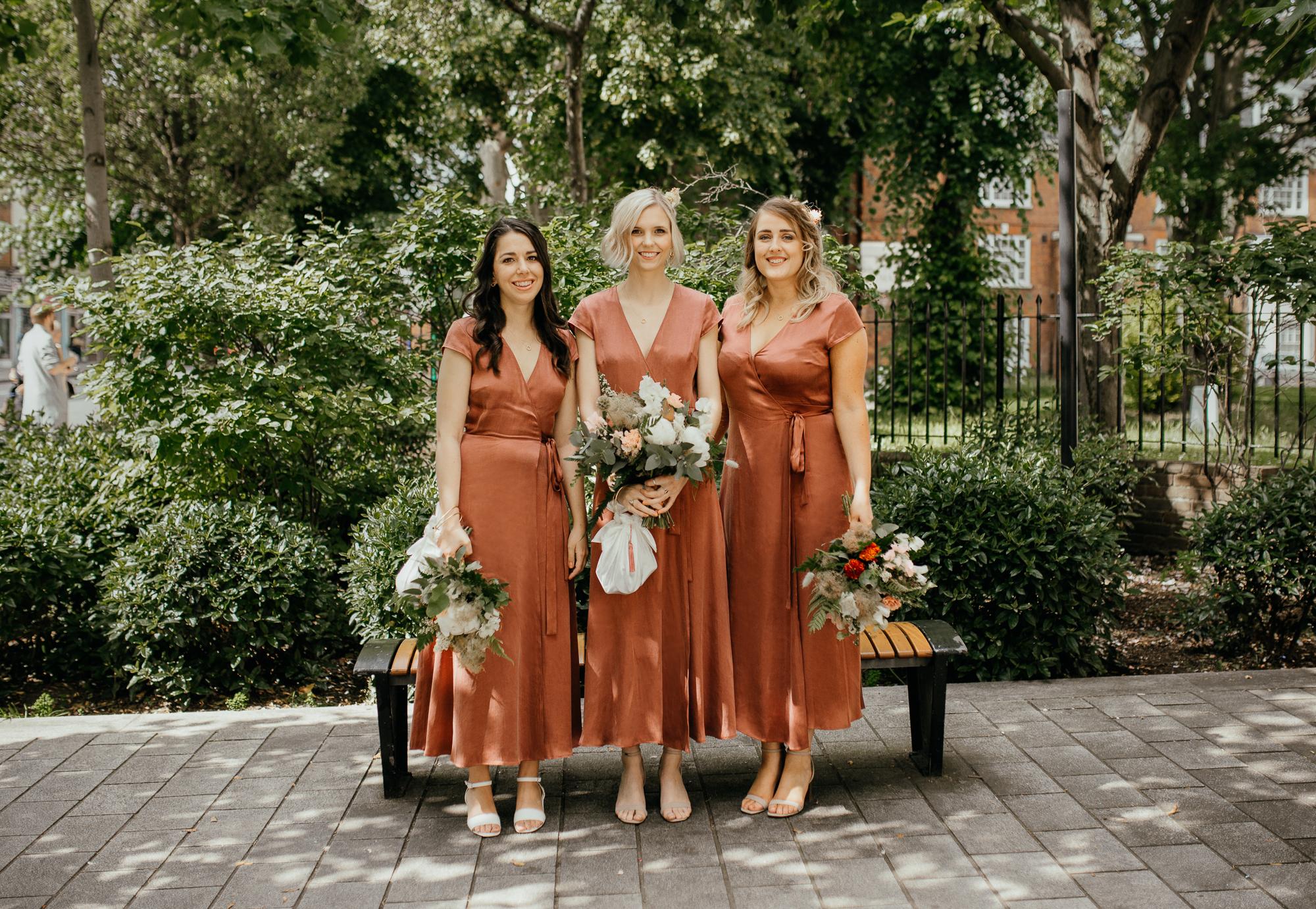 Nicebunch wedding flowers sula london-islington-town-hall-depot-n7 ethical british luxury bridesmaids burnt orange ferns stephanie-green-wedding-photography