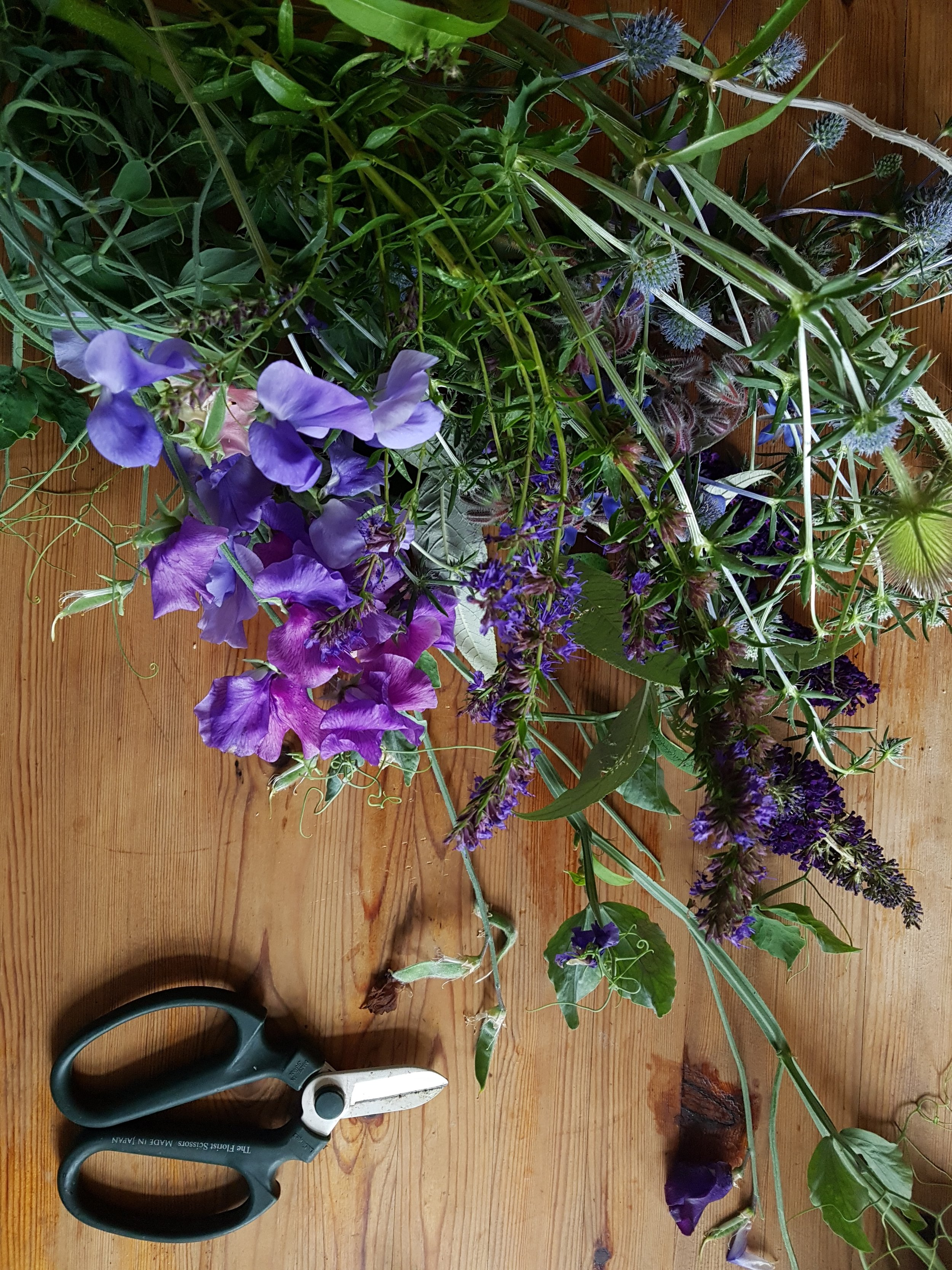 Nice bunch ethical floral design studio flower garden by Sula Somerset Compton Dundon organic cuttings sweet pea