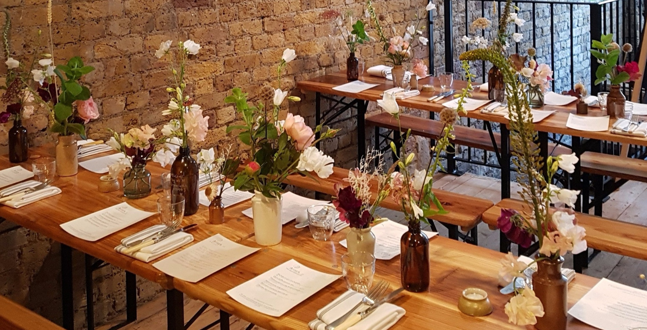 Nice bunch ethical floral design studio flower garden by Sula Acorn Restaurant 10 Cable Street table arrangement