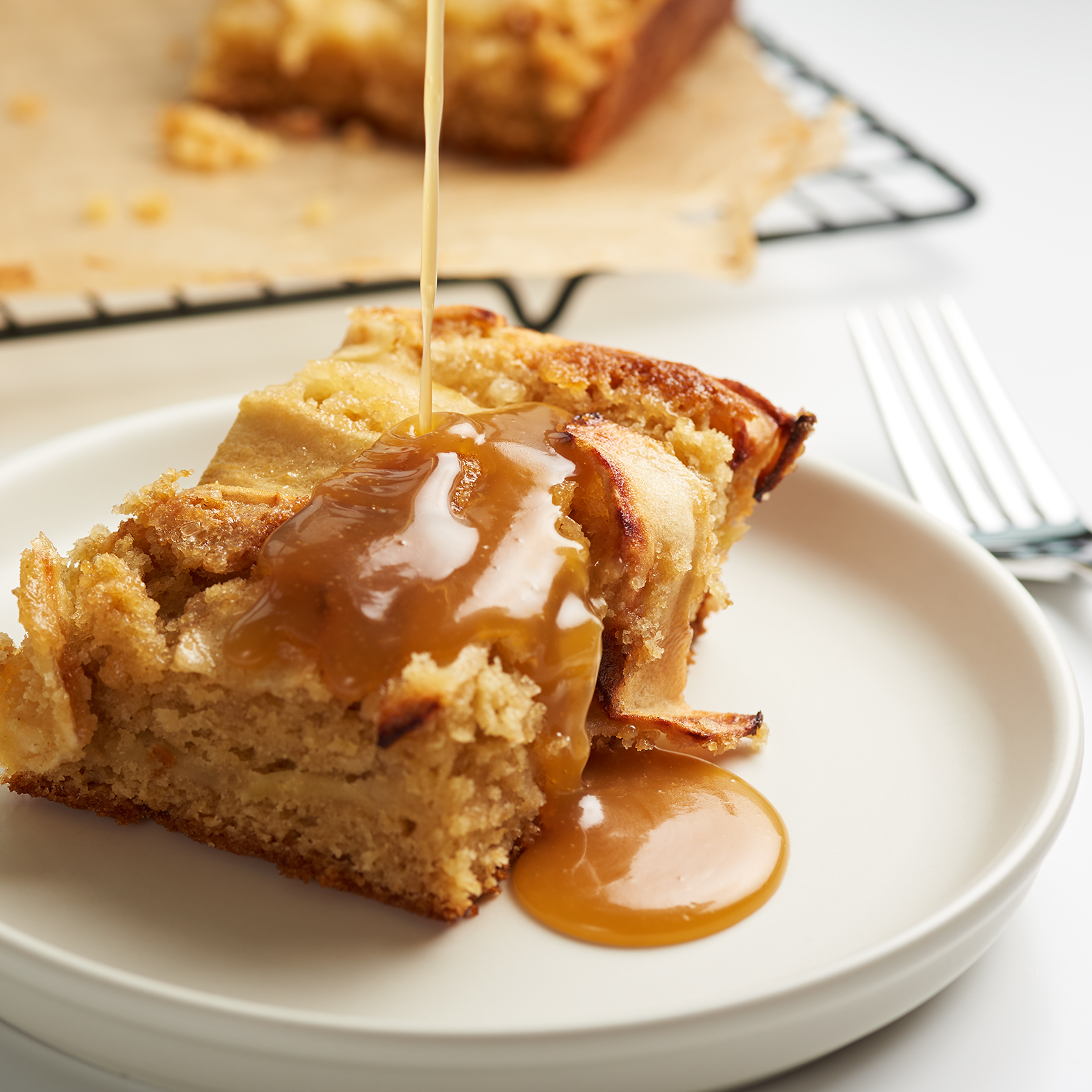 Toffee apple traybake