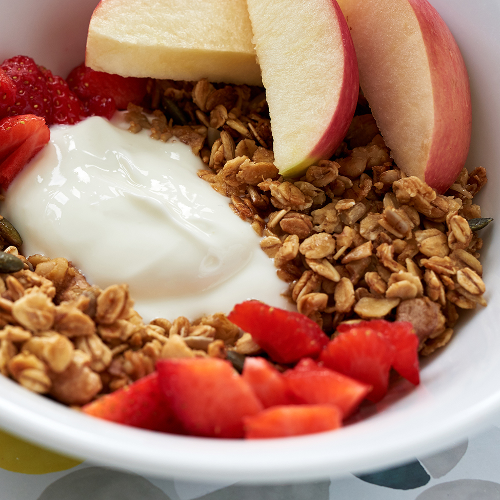 Served with natural yogurt and fresh fruit