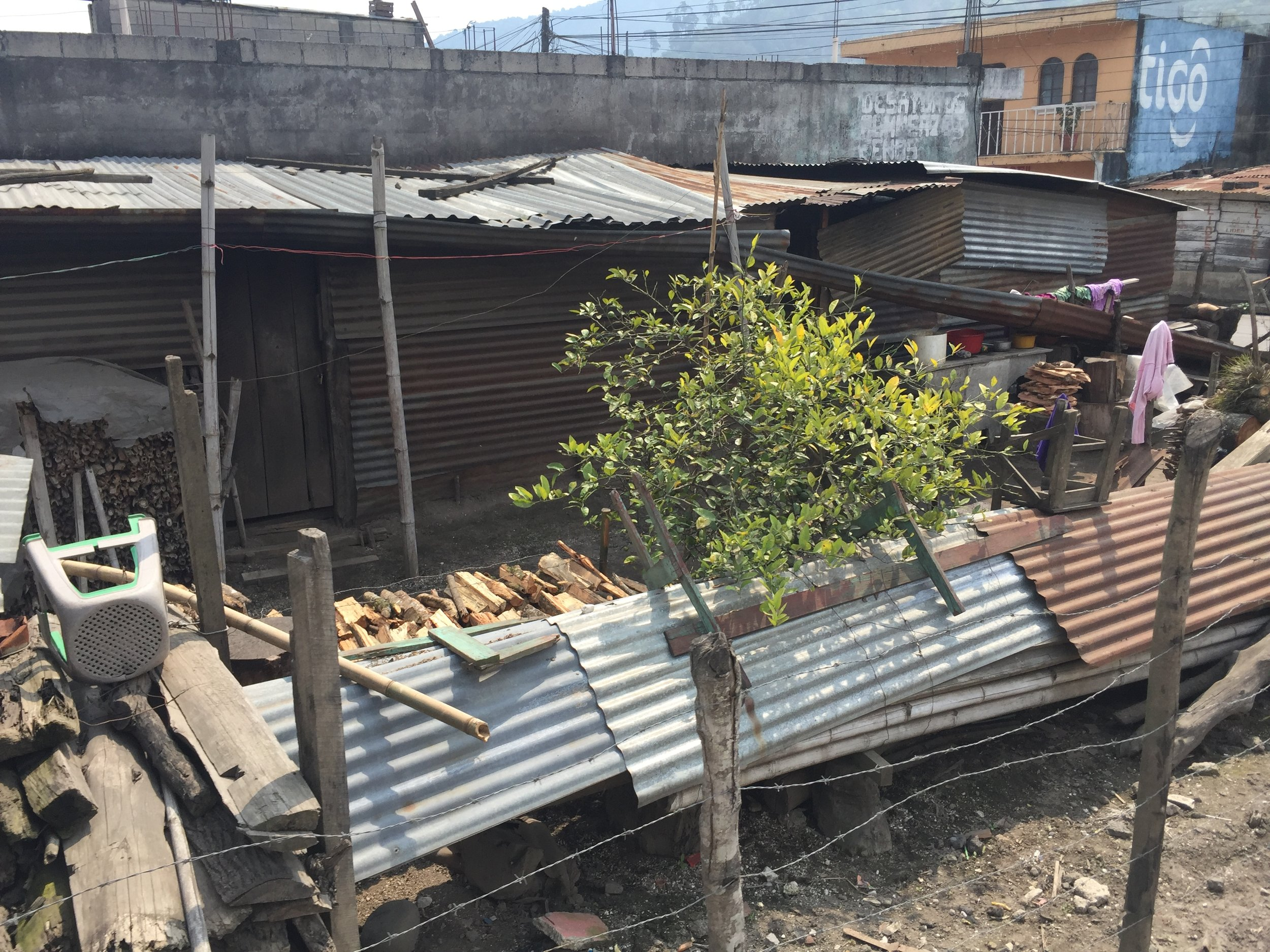 Wood stacks for cooking are a mainstay of most Guatemalan front yards.
