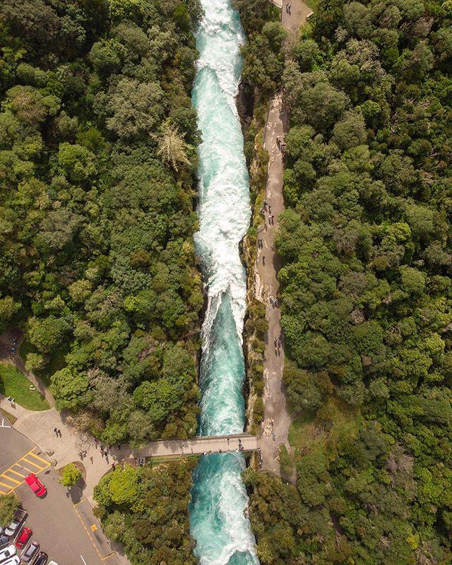 Huka Falls from the sky looks magical. I love New Zealand.