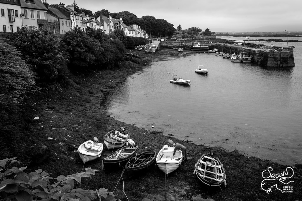 Roundstone Harbor Black and White - [35mm f11 30s iso100]