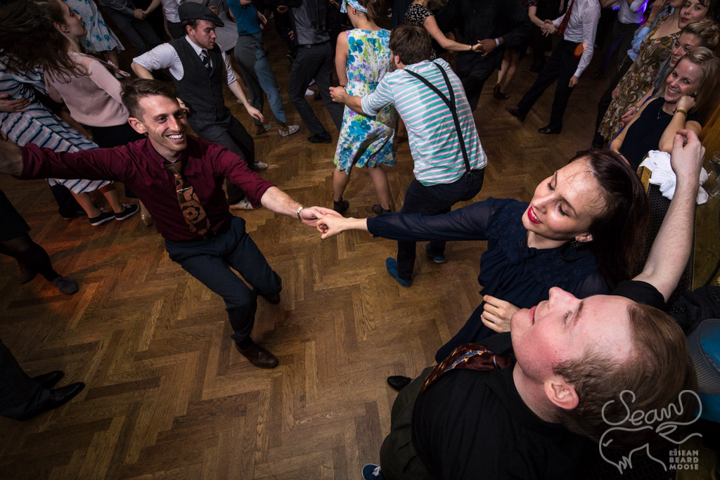 Interacting with others can make for fun and fun dances - [14mm f4 1/200 iso3200 bounce flash]