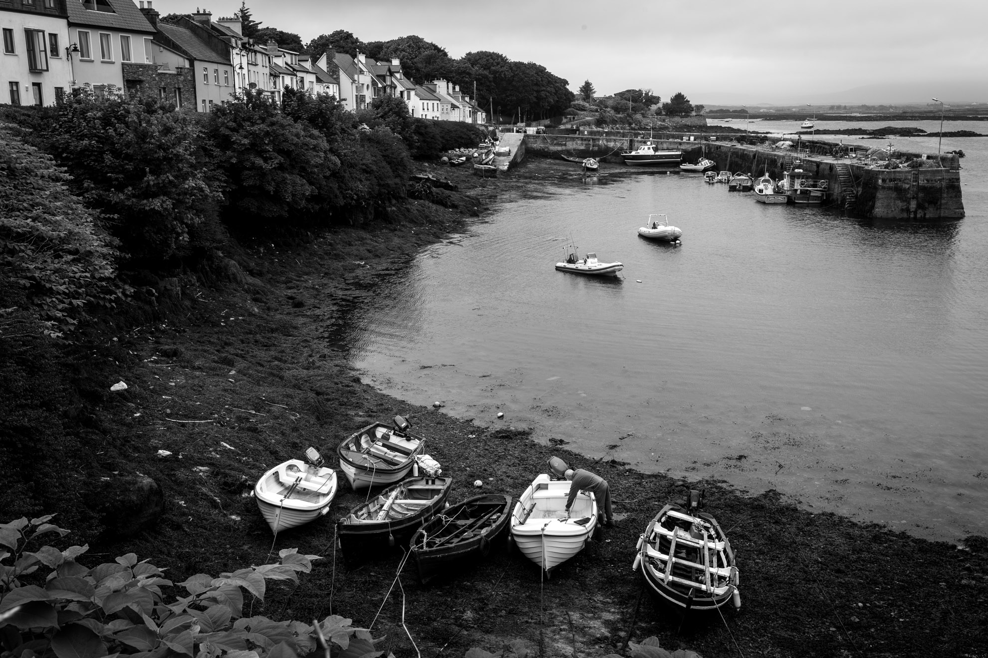 Roundstone Harbor Black and White