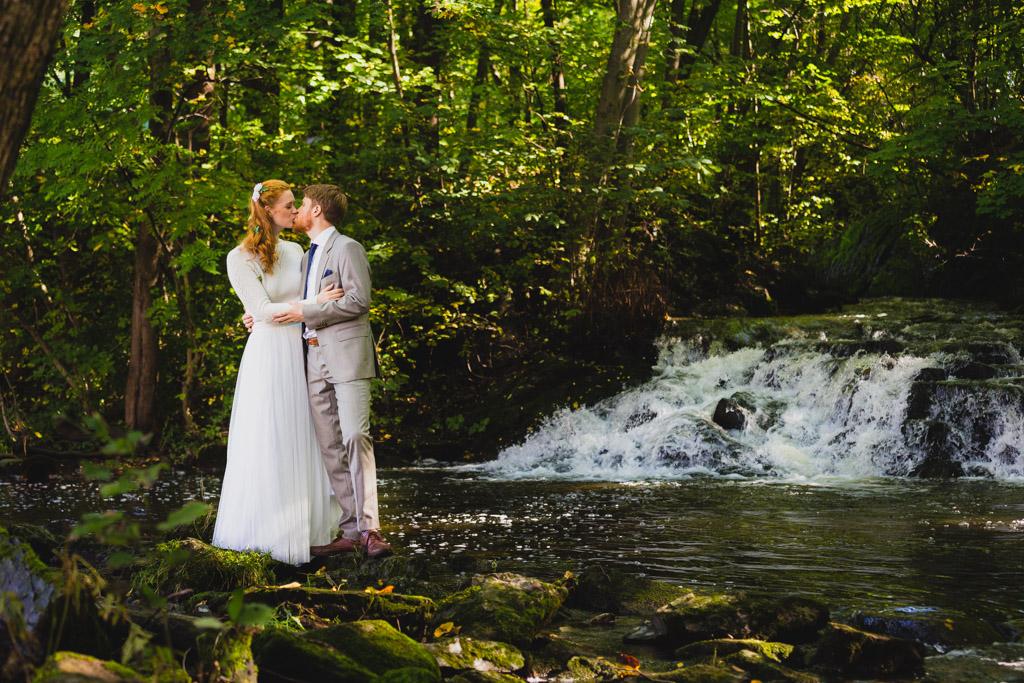 Waterfall wedding couple