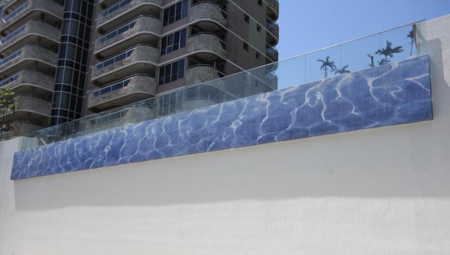 Feature Wall -  10 x 10mm Glass Mosaic Feature Wave Design