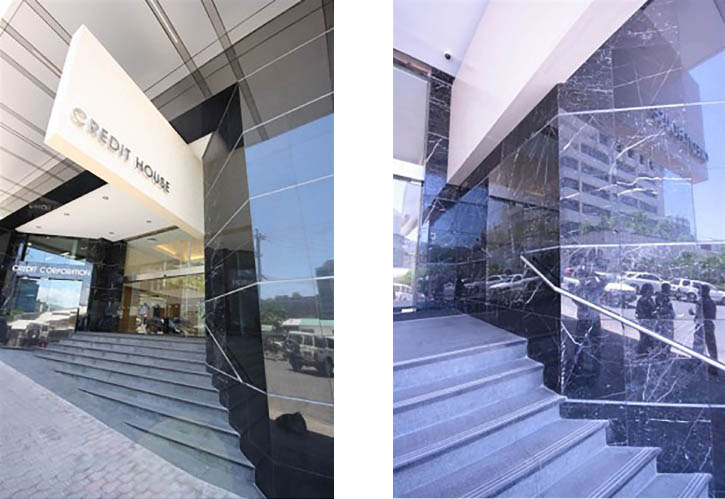 Entry Façade -  Black Galaxy Granite  Entry Façade -  Nero Marquina Marble   Feature Fin -  Travertine Ceramic 300 x 600mm Matt  Steps and Risers -  Black Pearl 900 x 300 x 30mm Exfoliated with Stainless Steel 316 inserts