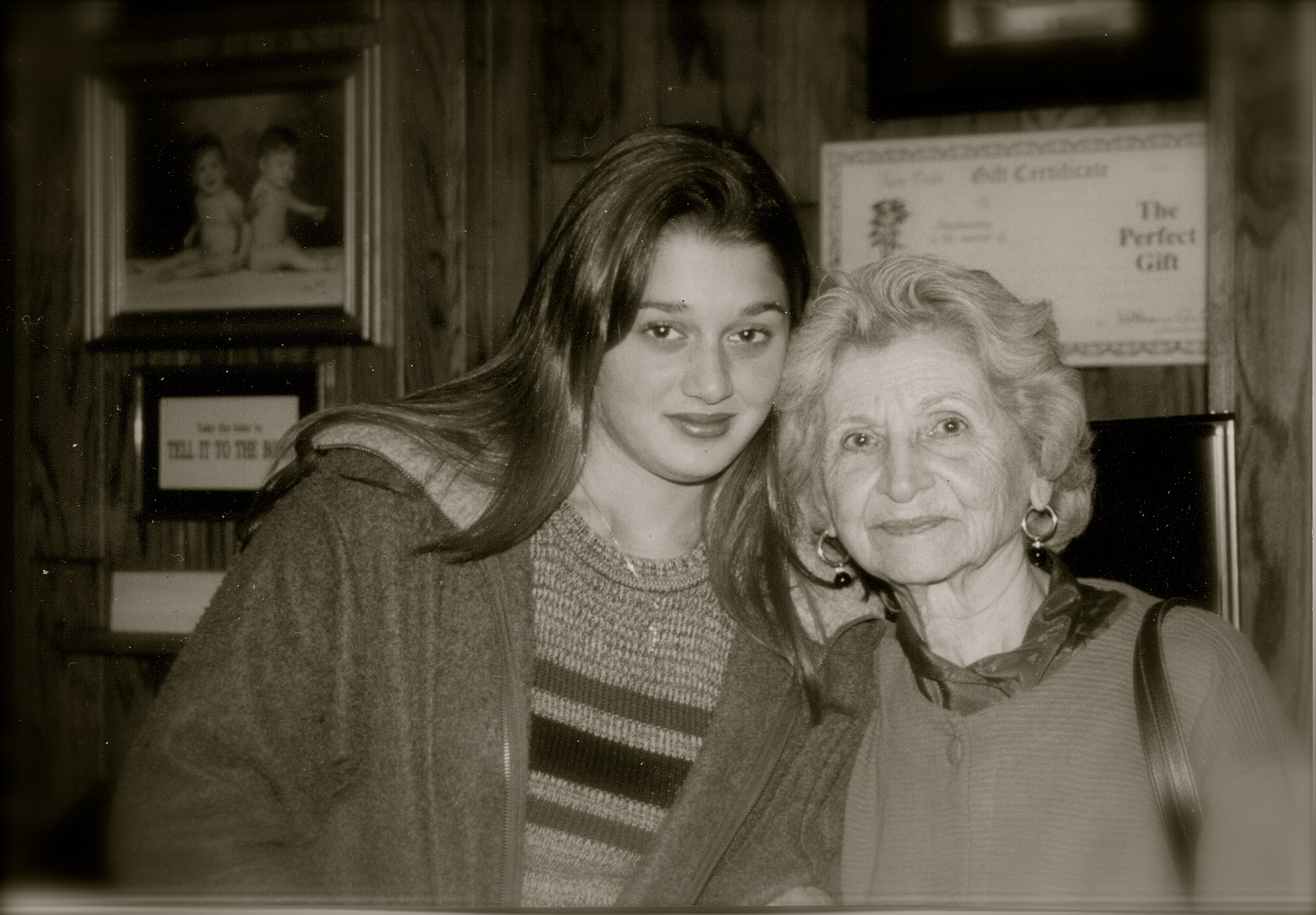 Mafalda Caliri with her great granddaughter, Erica Laros, circa 1998.