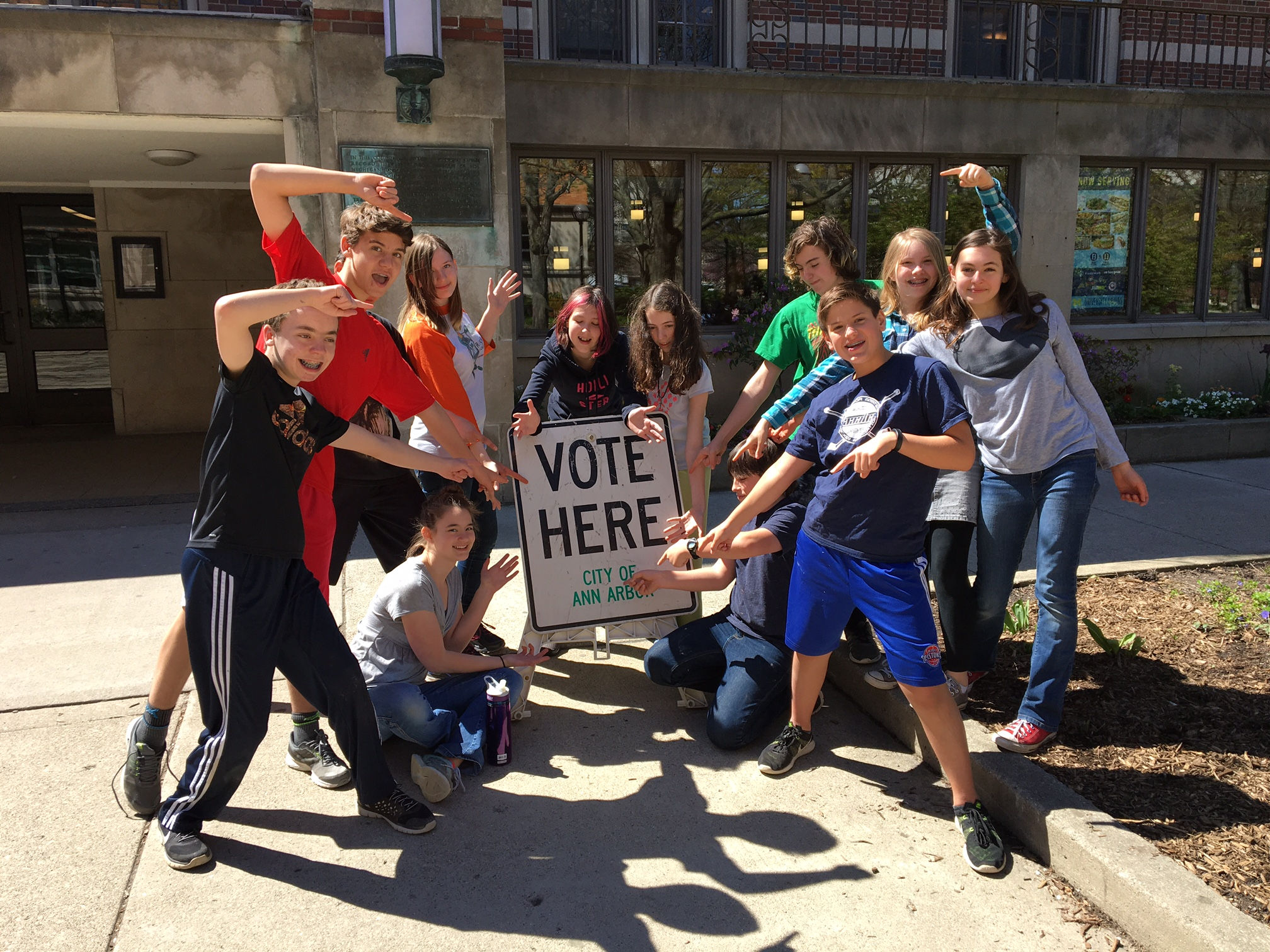 Summers-Knoll students outside of the Michigan Union on Election Day (May 3, 2016).