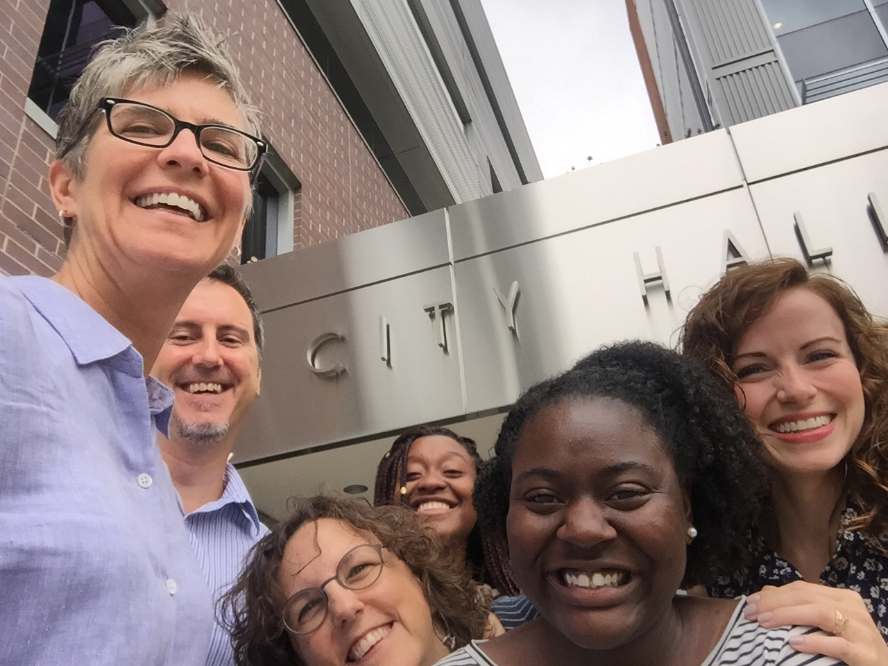 University of Michigan Ginsberg Center staff celebrate #CityHallSelfie Day!