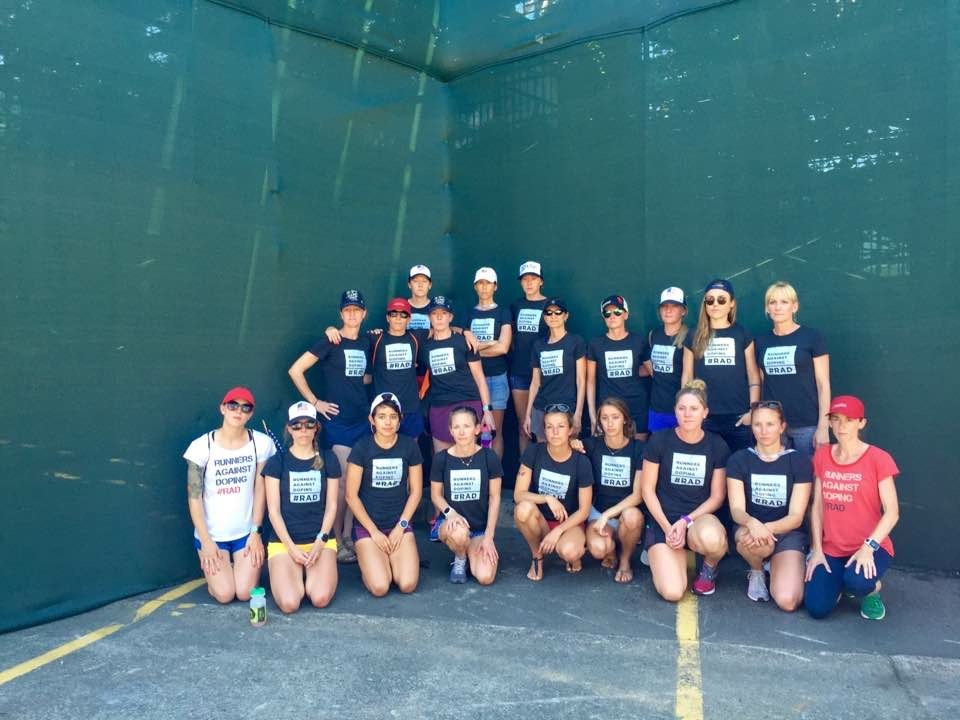 Putting on our serious faces for the first annual Runners Against Doping Day; photo by Oiselle.