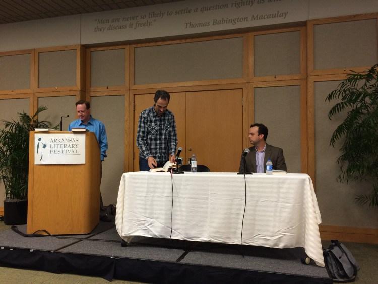Michael Kardos (plaid shirt) and M.O. Walsh at the 2015 Arkansas Literary Festival.