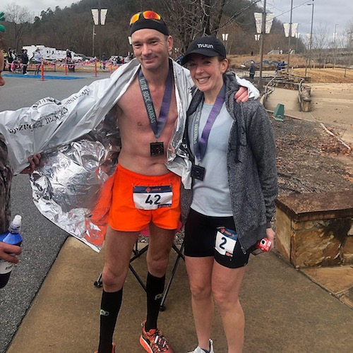 Chris and I, shortly after the finish; photo credit: Jonathan Caudle.
