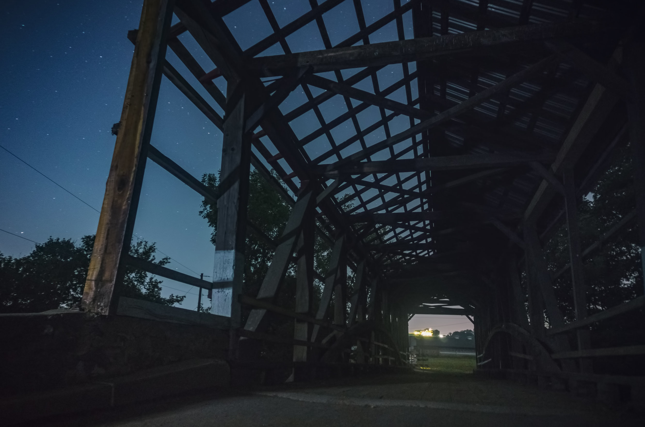 Stars through the roof of the Covered Bridge on Cats Back Road.