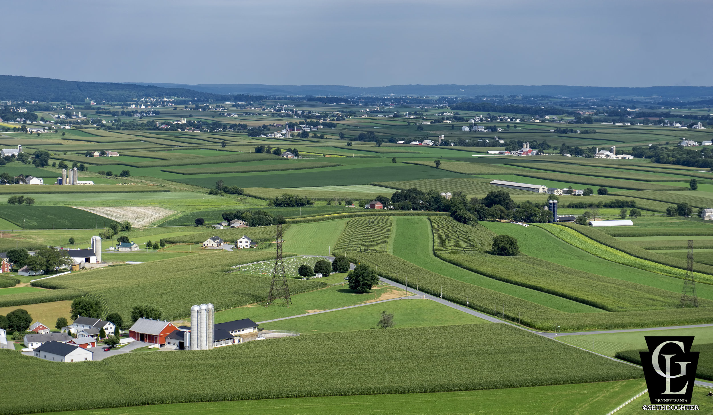 Looking southeast over Brubaker Quilts from Upper Leacock towards the Parkesburg area.