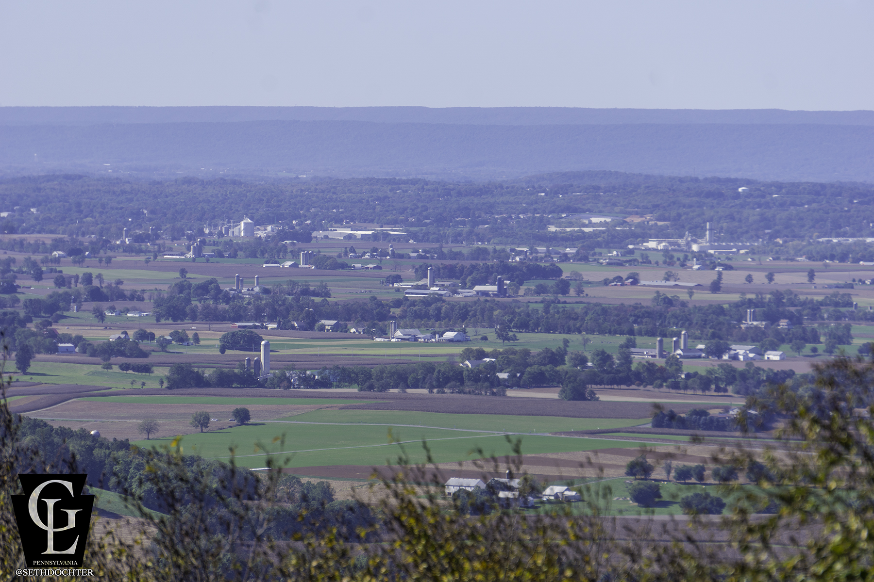 The view of the Lebanon Valley from the peak of South Mountain. The peak is at the edge of State Game Lands 225. Approximate elevation 1364'