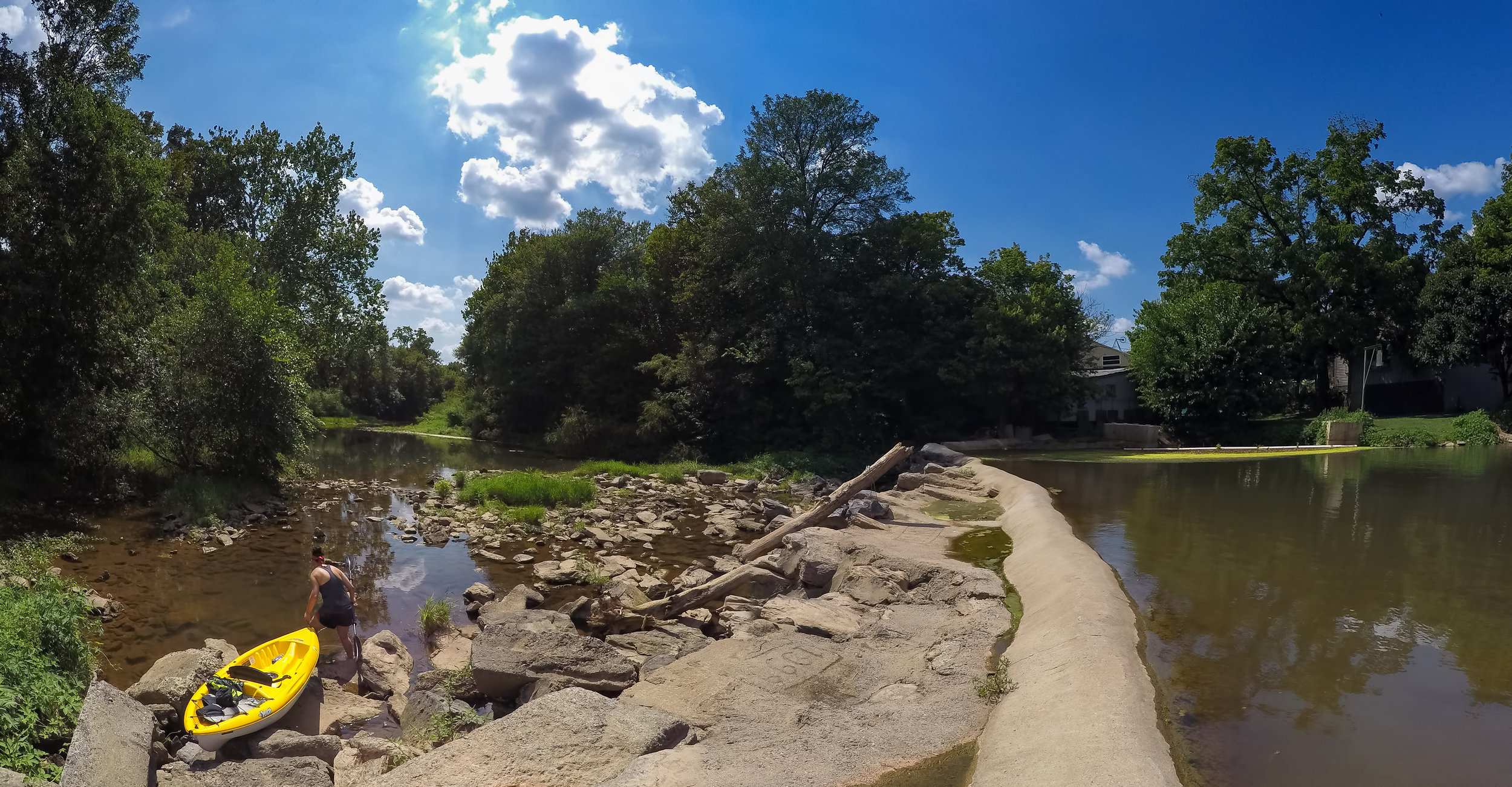 "Panoramic view of a ""Dam"" (and I use that term loosely) along the Conestoga River."