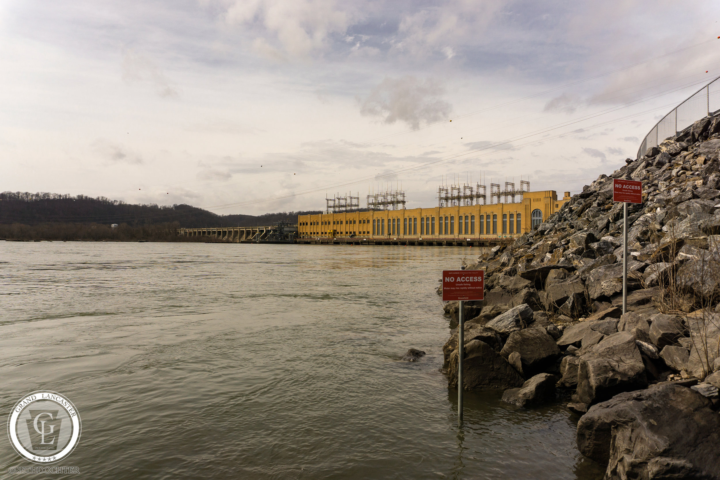 Safe Harbor Dam viewed from the point where the waters of the Conestoga River join the Susquehanna River.