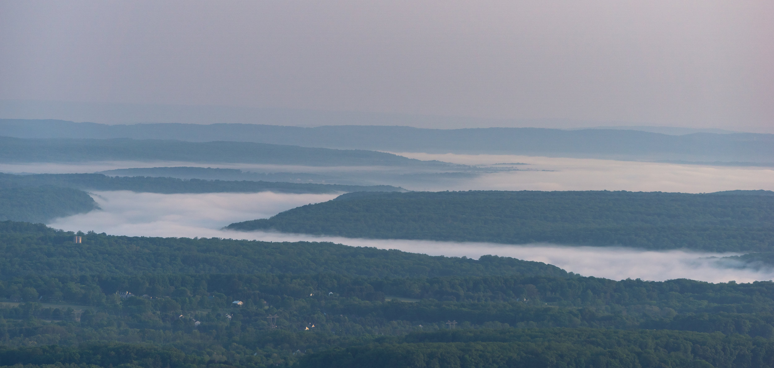 Here you can see the dense morning fog churning over the Delaware River.