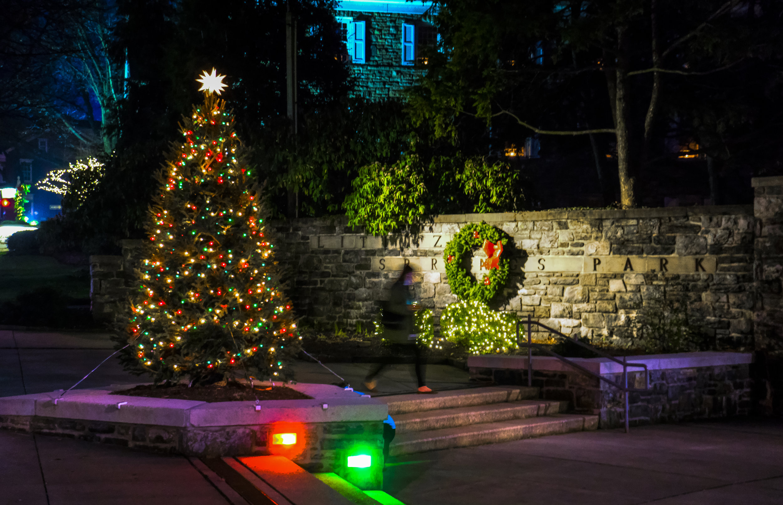 Lititz Springs Park beautifully decorated for Christmas.