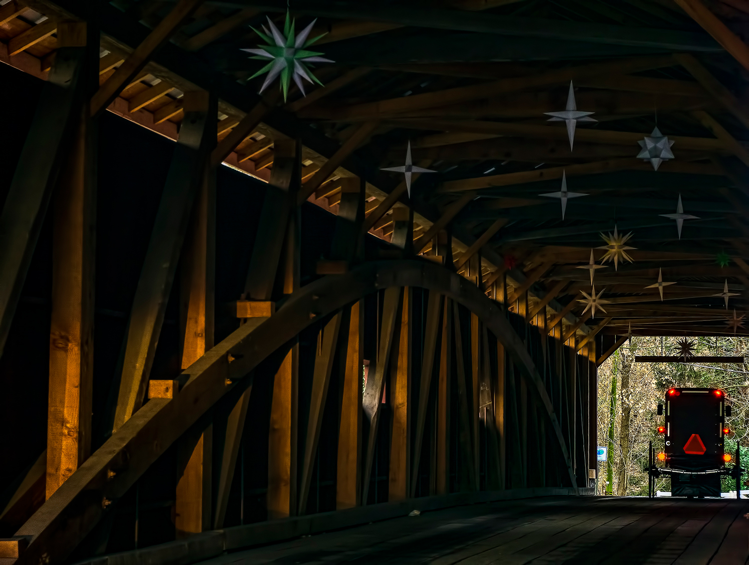 Christmas Magic - Moravian Stars hanging in one of the area's covered bridges provide a uniquely Lancaster landscape during the Christmas season.
