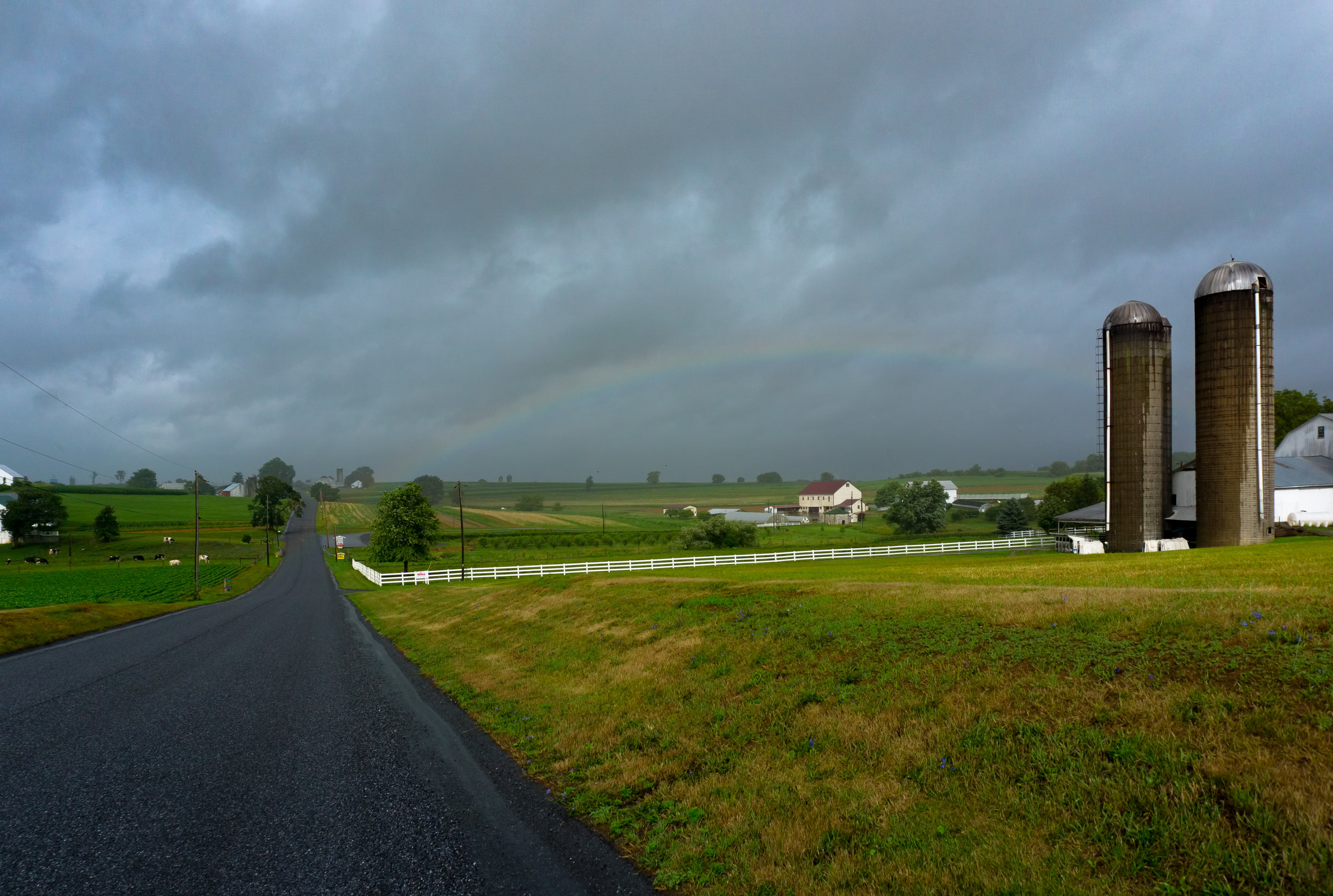 I did manage to capture this rainbow on the way home along Weaverland Road in East Earl. The farm wagon produce stand at the bottom of the hill is one of my favorites!