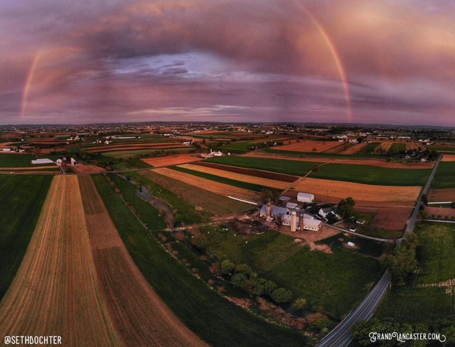 A passing April shower dropped off a rainbow this evening near Farmersville, Pa. Read the clouds just right and found myself with a lovely view over the countryside. #rainbow #sunset #grandlancaster #lancastergram #iglanc #discoverlancaster #alwayslancaster #pennlive #uncoveringpa #country_features #rsa_rural #sunsetlover #dronebow  #djimavicair #djiglobal #panorama #mavicair #dronelife #dronestagram #dronephotography #clouds #rural #cloudscape #lancastercounty #pennsylvania #aprilshowers
