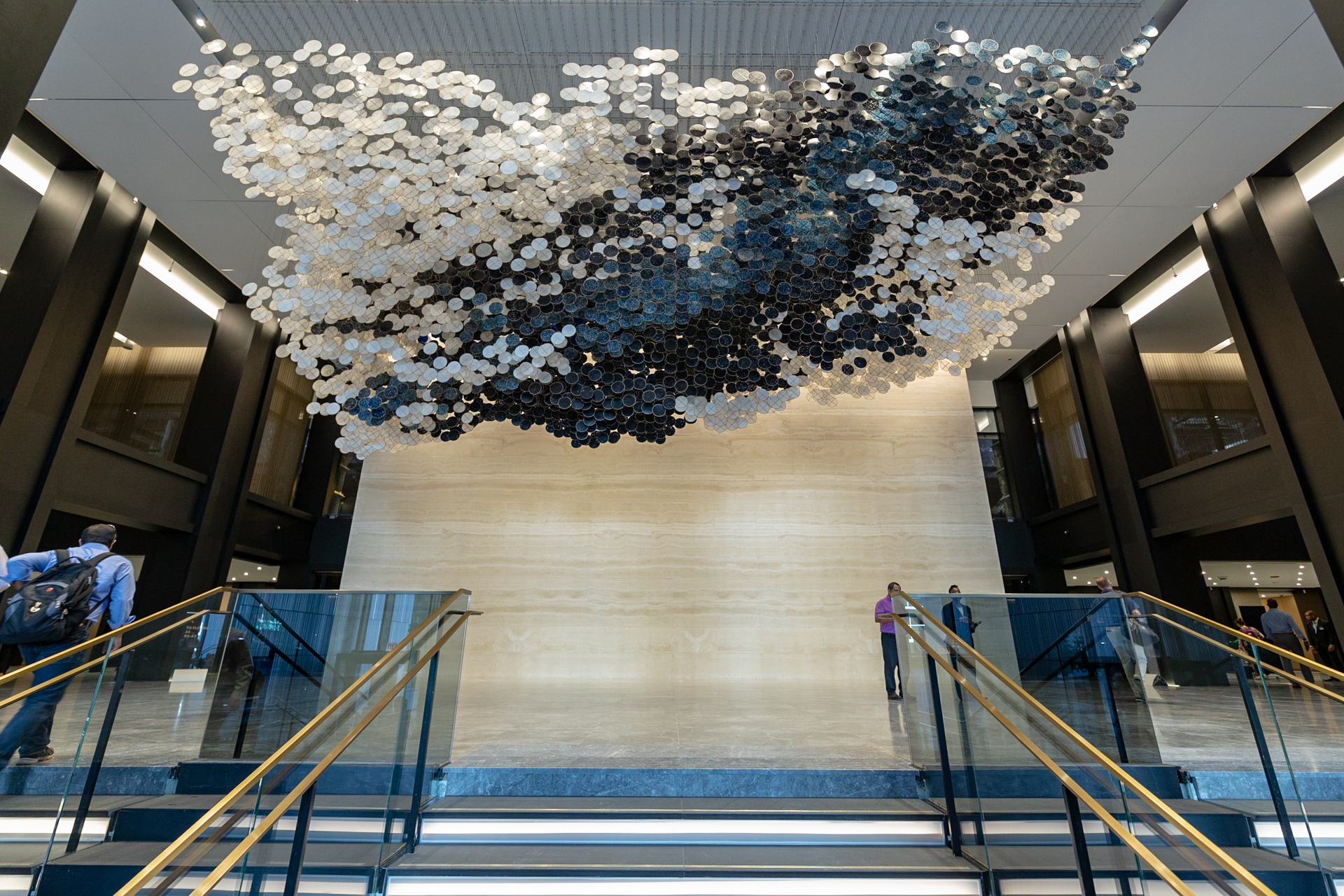 In the Heart of this Infinite Particle of Galactic Dust.  Jacob Hashimoto. Willis Tower's Wacker Drive Lobby, Chicago, IL. Curated by CNL Projects. 2019