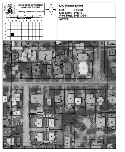 A 200 sq.m field sheet showing uniquely  identified plots and buildings.