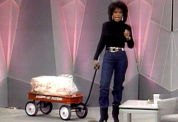 Oprah with her famous wagon of fat.