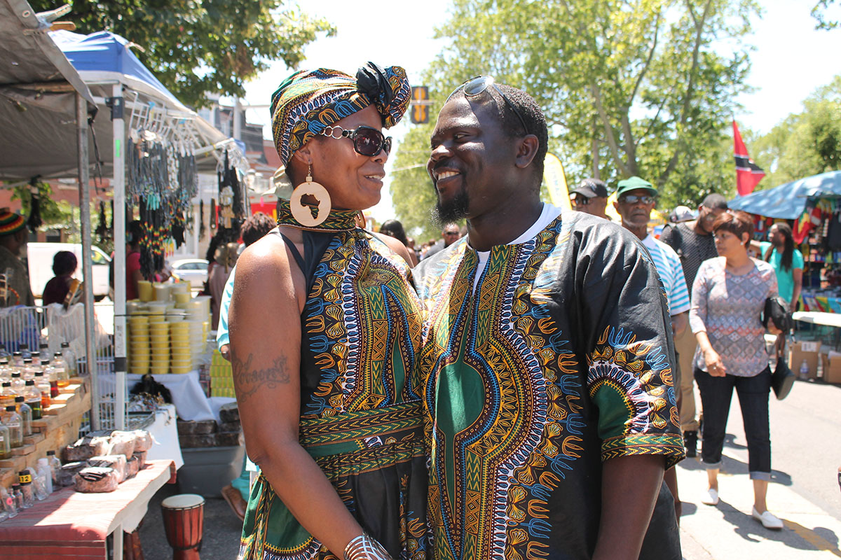 """Maryam & Friday Allu match in more ways than one. Friday, who is Nigerian says, """"This is my culture, this is my identity. I'm not going to differentiate. We [black people] have differences but we are here for one purpose: African identity."""" Photography by Sofiya Ballin."""